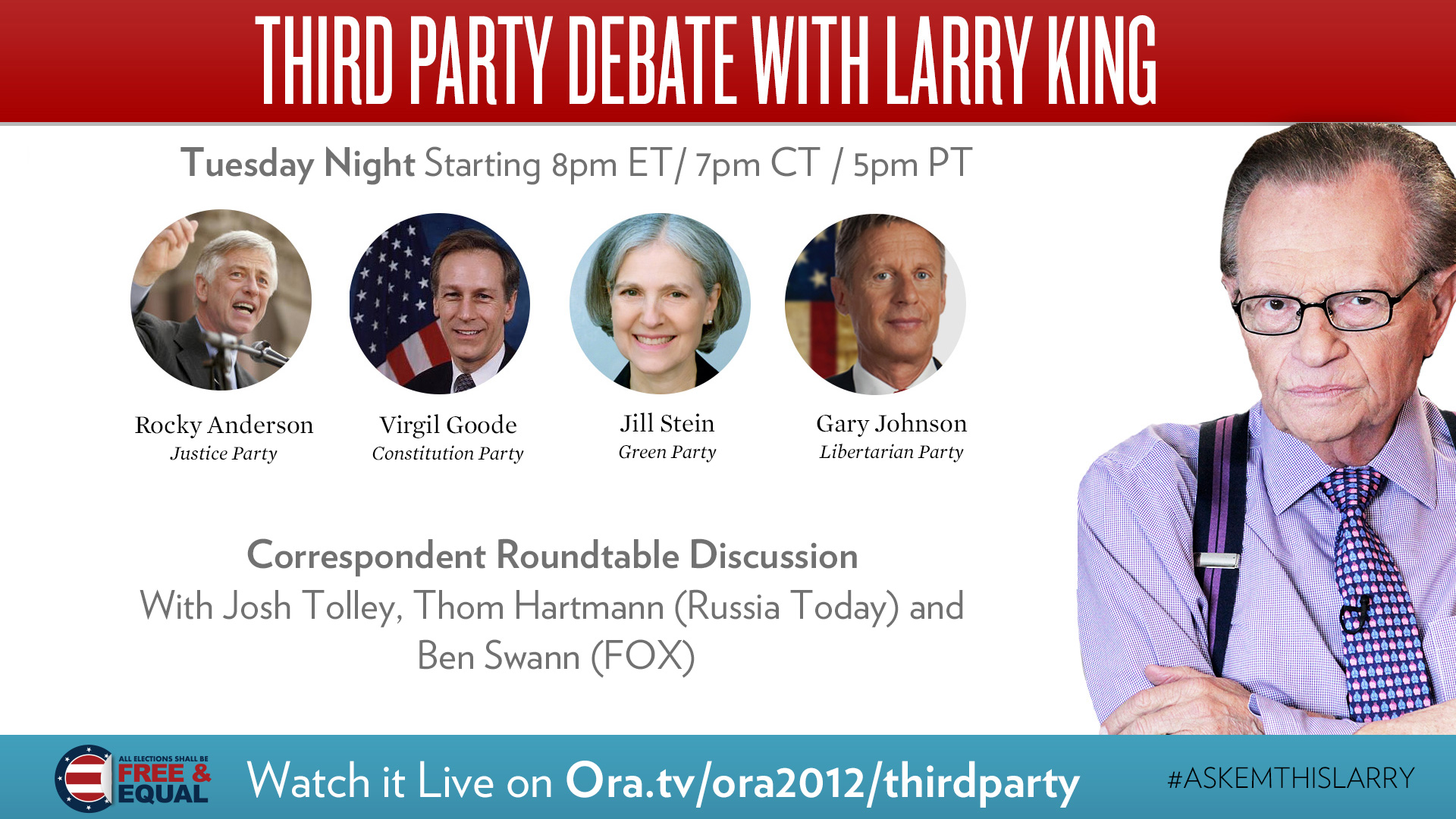 larry king hosts third party debate tonight 10 23 the green